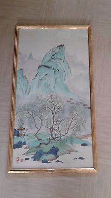 long vintage Chinese painting on paper signed