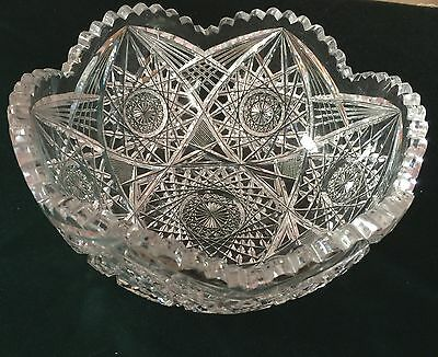 "American Brilliant Period ABP  Antique Cut Crystal Bowl  8"" Wide Hobstar"