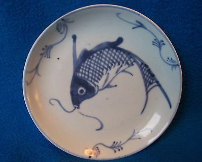 ANTIQUE CHINESE PORCELAIN PLATE SAUCER FISH PLATE 19th CENTURY GC