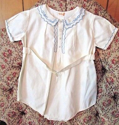 Vintage Baby/infant Romper~Blue Embroidery&with Belt~