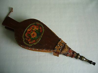 Antique Victorian Fire Bellows Wood & Leather With Floral Decoration