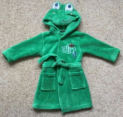 Baby Boys Frog Dressing Gown From Matalan  Age 9-12 Months  Great Cond