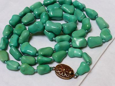 """CHINESE VINTAGE Turquoise BEADS NECKLACE Silver CLASP, 26"""" long, 55grams"""