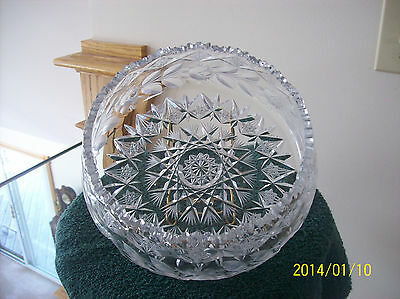 Bowl Elegant Large Heavy Etched Sawtooth Antique American Brillant Cystal
