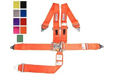 """Sfi 16.1 Racing Harness 5 Point Latch & Link 3"""" Seat Belt Orange Or Any Color"""