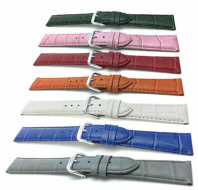 Womens' Leather Croc Watch Strap Band 12 14 16 18 20mm, White, Red, Beige & More