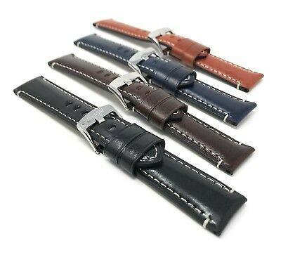Mens Leather Watch Strap Band 22mm, Black, Blue, Tan, Brown, For Citizen & more