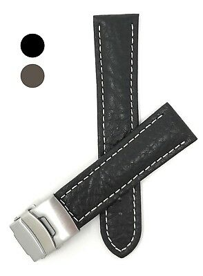 Leather Watch Band Strap Deployment 18 - 24mm Black Brown Tan for Citizen & More