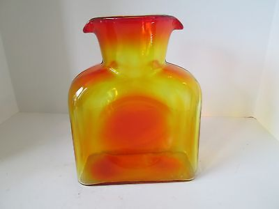 Vintage BLENKO Amberina Art Glass Pitcher Water Jug Dual Spout Smooth MidCentury