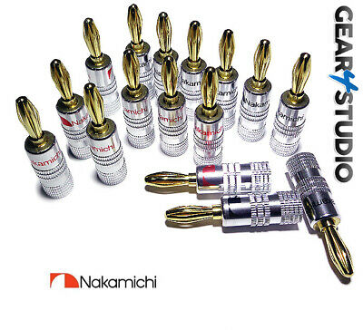 Nakamichi Banana Plugs x16 HiFi High Quality Gold plated Speaker Plugs Audio Amp