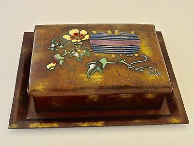Vintage Japanese Arts & Crafts Copper Box & Tray With Enamel Flowers Signed