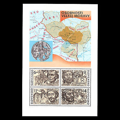 Slovakia 2001 - The Great Moravian Rulers Map Numismatic - Sc 380 MNH