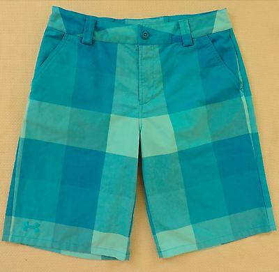 UNDER AROUR Youth Large Loose Blue Check Athletic Golf Shorts EXC