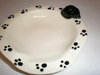 Vintage Cat Print Rim Cat On Edge Ashtray Trinket Dish - Veasey Name Is Mud Nyc