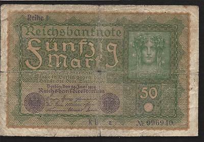 1919 Imperial Germany #66 * 50 Mark Banknote * Wwi Pre-Hyperinflation