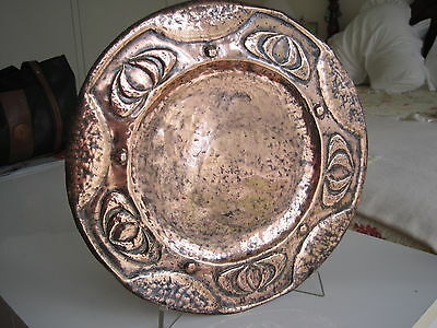 Copper Art Nouveau Decorative Plate