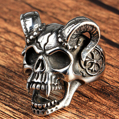 Vampire Ring Skull Goat Horns Evil Gothic Biker Rock Men's 316L Stainless Steel
