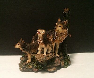 Red Wolf Family of Pups on Forest Rocks Resin Wildlife Statue Cute Laughing Cub