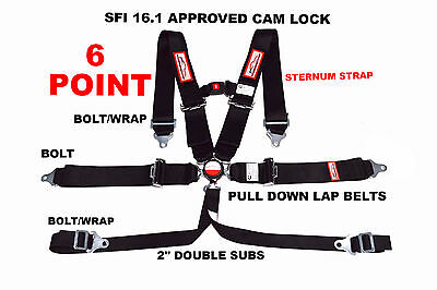 """6 POINT RACING HARNESS SFI 16.1  with  STERNUM STRAP 3"""" CAM LOCK BLACK"""