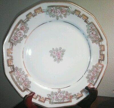 """6 Antique Nippon 8.5"""" Lunch/Dinner Plates Floral Flowers Gold Trim Hand Painted"""