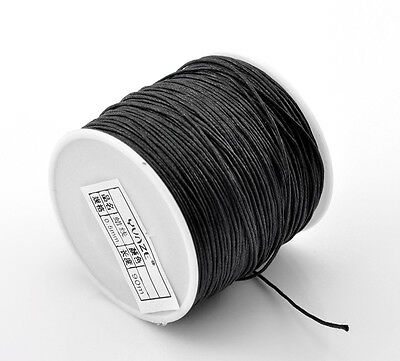 3 Meter Black Premium Cotton Waxed Cord Beading Thread String 0.7mm Dia(B21508)