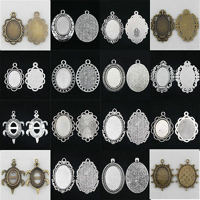 10pcs 18/20/25/30mm Antique Silver/Bronze Cameo Cabochon Setting Base pendants