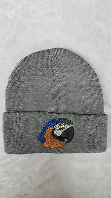 Blue and Gold Macaw Parrot Bird Embroidered on a Grey Beanie