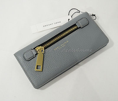 5e5c7dd454 NWT MARC By Marc Jacobs M0008451 Gotham Leather Open Face Wallet Dolphine  Blue