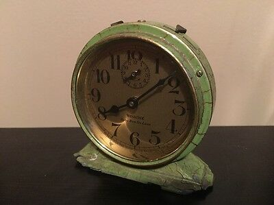 *Antique 1928-30 Westclox Baby Ben Deluxe Green Crackle Windup Alarm Clock*