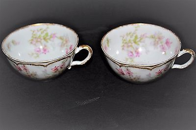 2 Pretty Tea Cups, Haviland Limoges China, Pink Blossoms With Green