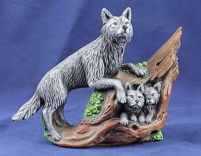 Grey Wolf with Two Wolf Pups Porcelain Figurine