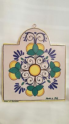DUCA DI CAMASTRA ART POTTERY TILE ITALY Hand Painted Wall Decor Pier 1 signed