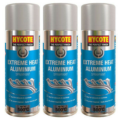 Hycote Very High Temperature Aluminium 3 Spray Cans Paint 400ml