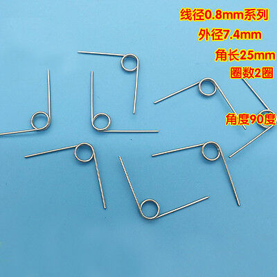 6Pcs 0.8mm Wire Diameter 7.4mm Outside Diameter Torsion Springs 2 Turns 90° 25mm