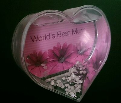 SNOW DOME /Snowglobe Heart shaped, Picture can be changed  Silver snow. GC