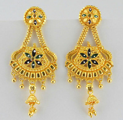 Indian Bollywood 22k Gold Plated Jhumka Women Traditional Jewelry Earrings E26