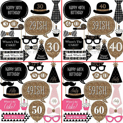 20PCS 30th 40th 50th 60th Birthday Party Photo Booth Props on Stick Photography