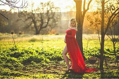 Red Off Shoulder Maternity Dress Gown - Photography Photo Prop