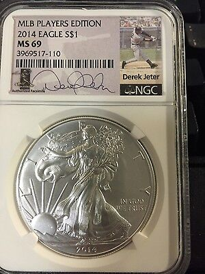 Derek Jeter 2014 $1 American Silver Eagle Coin Ngc Ms69 Mlb Players Edition