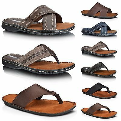 Mens Leather Open Toe Slip On Summer Sandals Flip Flop Beach Mules Shoes Size UK