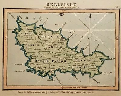 Antique Map BELLEISLE Belle Île France Hand Colored Luffman Select Plans 1800