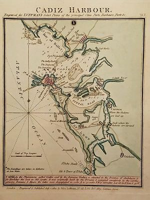 Antique Map CADIZ HARBOUR Andalusia Spain Engraved Hand Colored Luffman 1801
