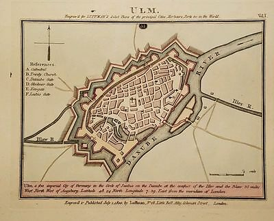 Antique Map ULM Baden-Württemberg Germany Hand Colored Luffman Select Plans 1800