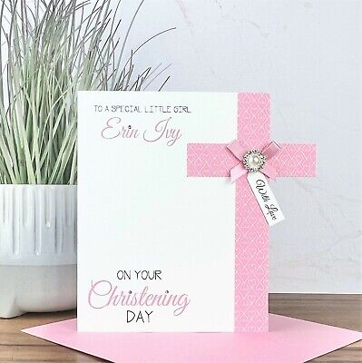 Personalised Handmade Christening Baptism 1st Holy Communion Card Niece Daughter