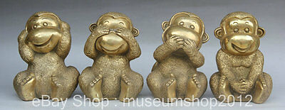 "7"" Chinese Folk Feng Shui Brass Seat 4 Zodiac Year Monkey Lovely Statue Set"