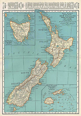 New Zealand Map Vintage 1935 Original, Rand McNally, Wall Decor