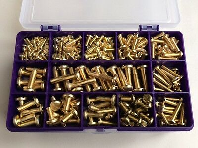 Assorted Solid Brass Slotted Pan Head Machine Screws M3 M4 M5 M6   235 pieces