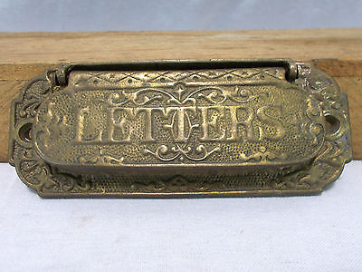 ANTIQUE BRASS Ornate DOOR HARDWARE 5 3/8inch MAIL SLOT Victorian East Lake Style