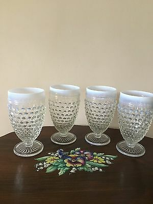 4 Moonstone Hobnail Anchor Hocking clear/opalescent glass water Goblets 1942-46