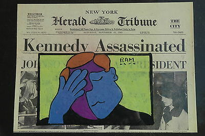 Vintage John F Kennedy Assassination New York Herald Tribune Pop Art Painting